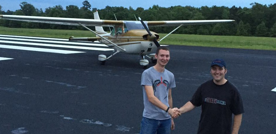 Morgan Joslin, after his first solo flight, with his instructor, Jack Kubit