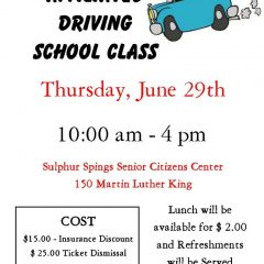 Affiliated Driving Class June 29th at Senior Center