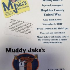 Hopkins County United Way Over 50% of Goal; Give Back Event at Muddy Jake's