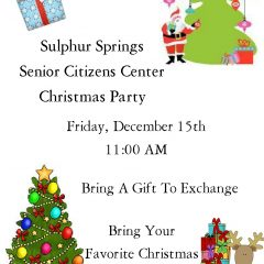 Senior Citizen's Annual Christmas Party Is Friday Dec 15 For Local Seniors!
