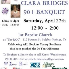 223 Hopkins County Residents To Be Honored At 14th Annual Clara Bridges 90-Plus Banquet April 27