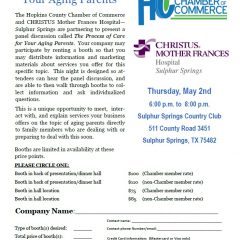 "Chamber of Commerce, Hospital Partnering To Host ""The Process of Care for Your Aging Parents"" May 2"