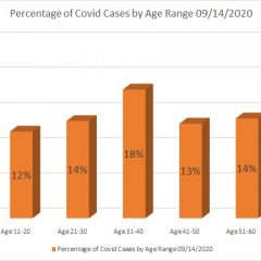 Age Ranges Of COVID-19 Patients Reported Sept. 14, Along With Daily Case Updates for Hopkins County