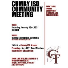 Cumby ISD Master Planning, Possible Bond Election To Be Discussed At Jan. 30 Meeting