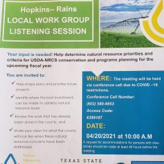 The Hopkins Rains Local Work Group Listening Session Will be Held April 20th